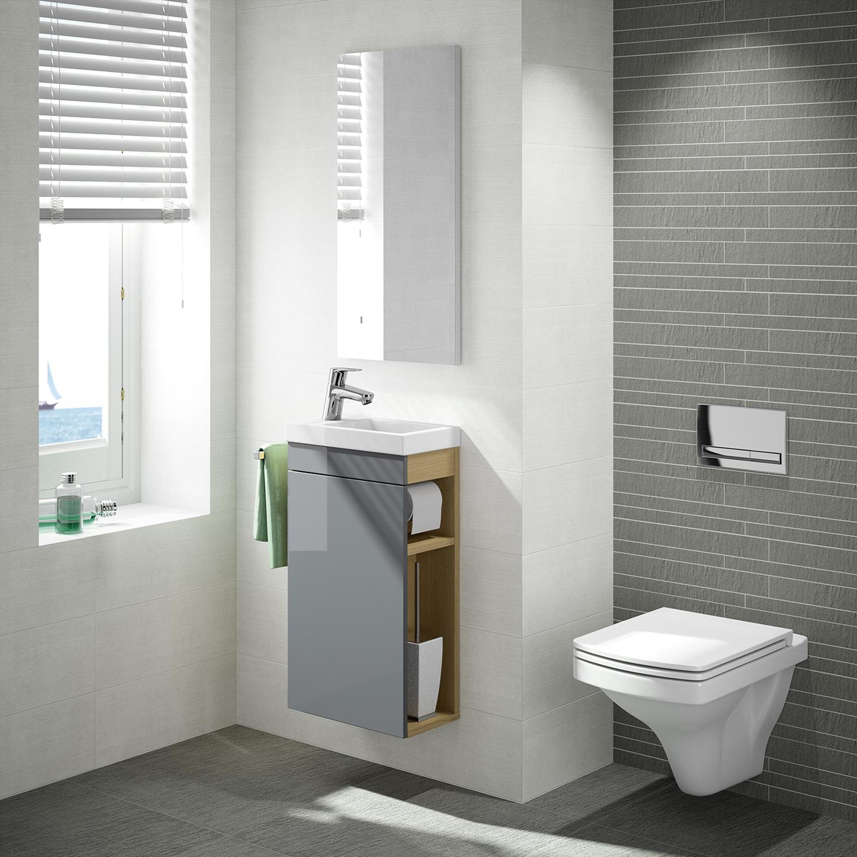 G ste wc badm bel set waschbecken mit unterschrank und for Designer badmobel gaste wc