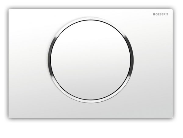 Geberit Sigma10 Drückerplatte, weiß / glanzchrom / weiß 1-Mengen-Spülung