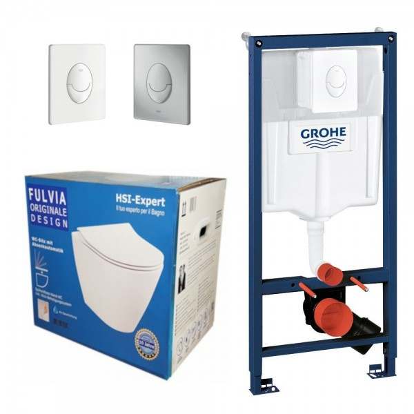 Grohe Rapid 3in1 + Fulvia WC + Drückerplatte + WC-Sitz