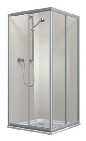DU Top Eckeinstieg komplett, Echtglas-klar, silbermatt 2-teilg, 90x90x185cm