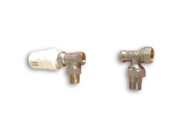 Anschluss-Set für Badheizkörper mit seitlichem Anschluss Eckform