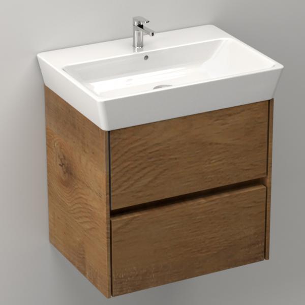 Ideal Standard Connect Air Waschtisch 60 × 46 cm plus Unterschrank in Holzfarbe