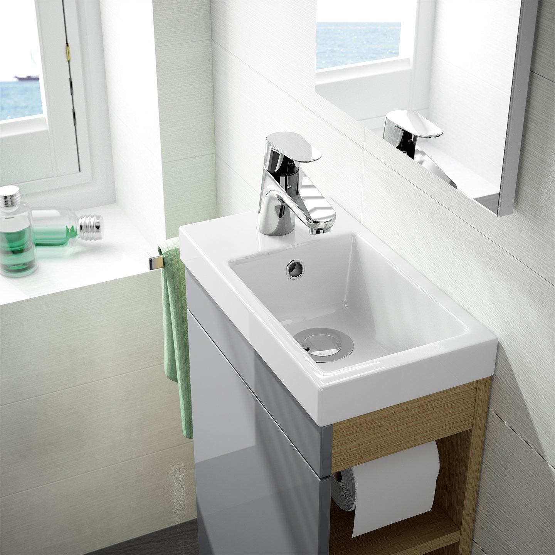 Gäste WC Badmöbel Set, Waschbecken mit Unterschrank und Design Spiegel,  weiß oder anthrazit