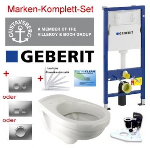 Geberit Vorwandelement + Gustavsberg WC + Delta (chrom) + WC-Sitz + Beschichtung