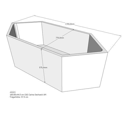 Badewannenträger für Galeno 180×80×44,5cm