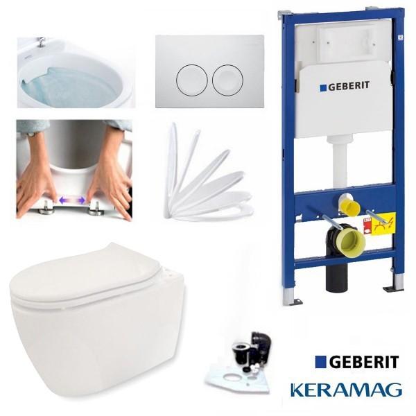 GEBERIT DUOFIX BASIC WC Vorwandelement UP100 mit Delta 50 weiß und Schallschutz