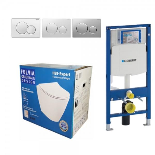 Geberit Vorwandelement UP320 + Fulvia WC + Drückerplatte + WC-Sitz