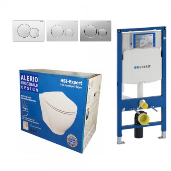 Geberit Vorwandelement UP320 + Alerio WC + Drückerplatte + WC-Sitz