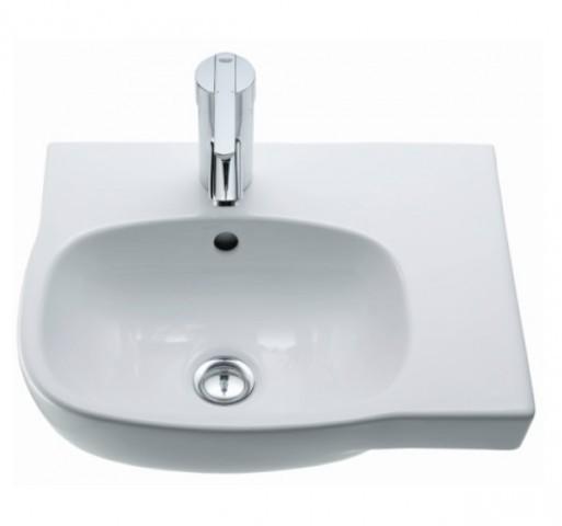 Ceravid Cavea Eck-Handwaschbecken 450×350, Ablage rechts