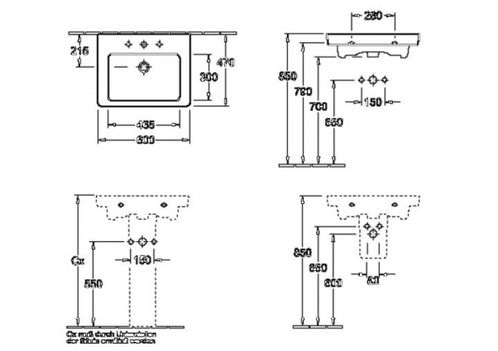 waschtisch subway 60 x 47 cm 1 hl m l wei c plus. Black Bedroom Furniture Sets. Home Design Ideas